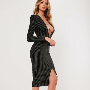 Black metallic stripe plunge dress